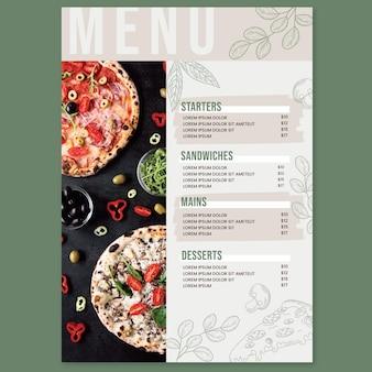Modèle de menu de restaurant plat rustique