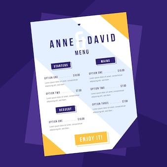 Modèle de menu de restaurant plat