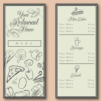 Modèle de menu de restaurant potrait