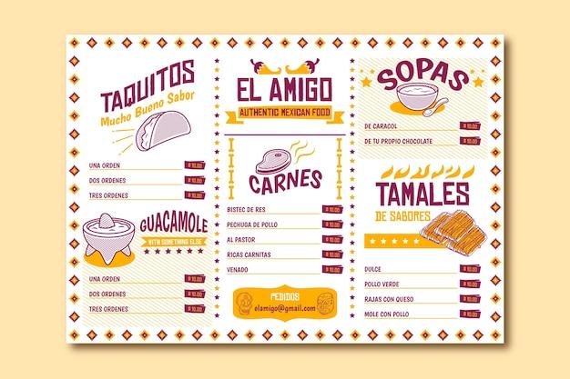 Modèle de menu de restaurant pour les taquitos