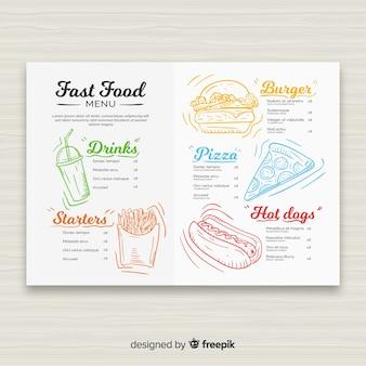 Modèle de menu de restaurant de restauration rapide dessiné à la main