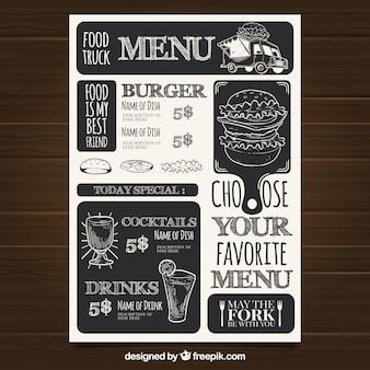 Modèle de menu de restaurant avec de la restauration rapide