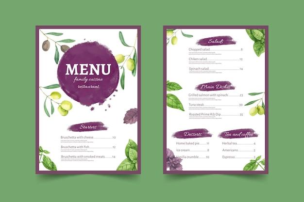 Modèle de menu de restaurant rustique aquarelle peint à la main
