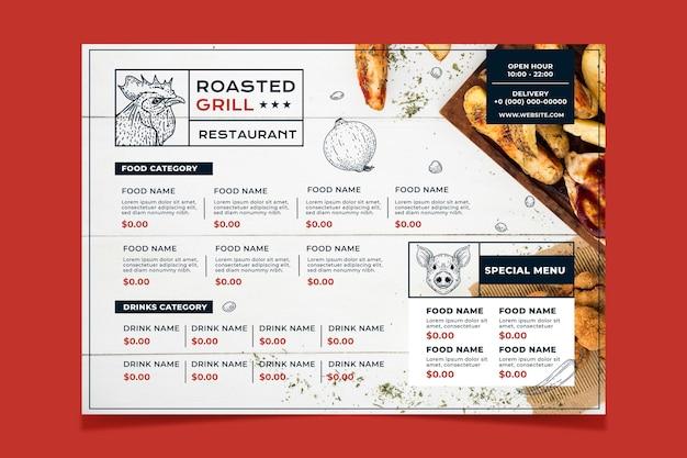 Modèle de menu de restaurant rustique dessiné à la main de gravure avec photo