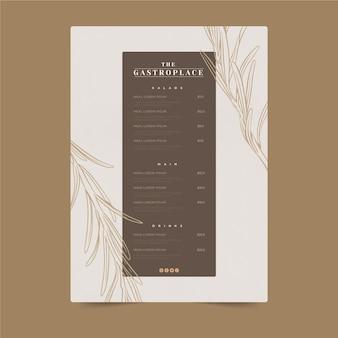 Modèle de menu de restaurant rustique dessiné à la main de gravure