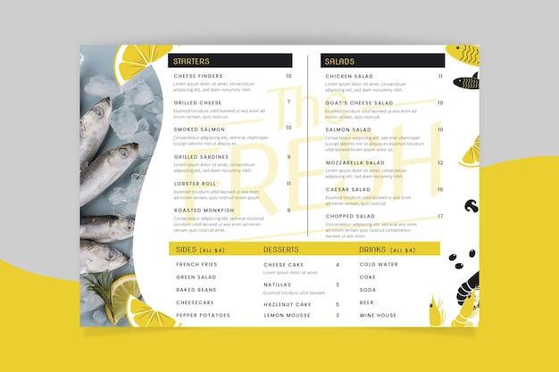 Modèle de menu de restaurant rustique avec photo