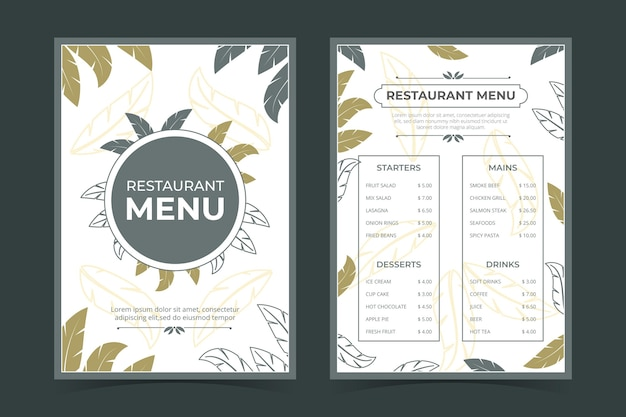 Modèle De Menu De Restaurant Rustique Plat Bio Vecteur gratuit