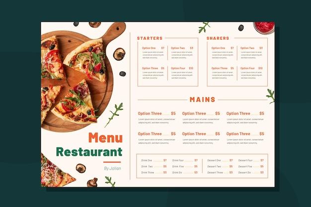 Modèle de menu de restaurant rustique plat bio