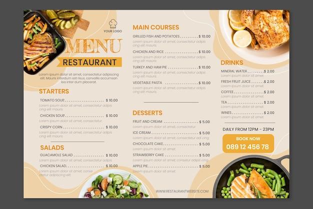 Modèle de menu de restaurant rustique plat biologique avec photo