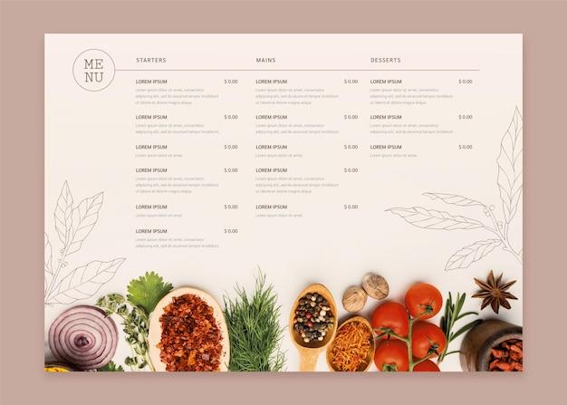 Modèle de menu de restaurant rustique plat biologique