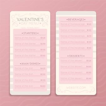 Modèle de menu de restaurant de la saint-valentin
