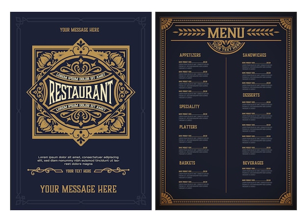 Modèle de menu de restaurant. style vintage. en couches