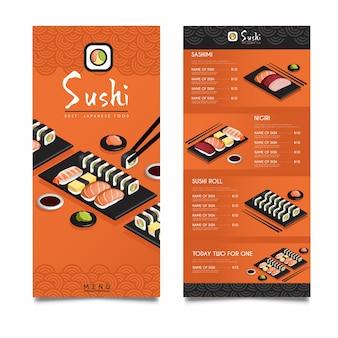 Modèle de menu de restaurant de sushi isométrique