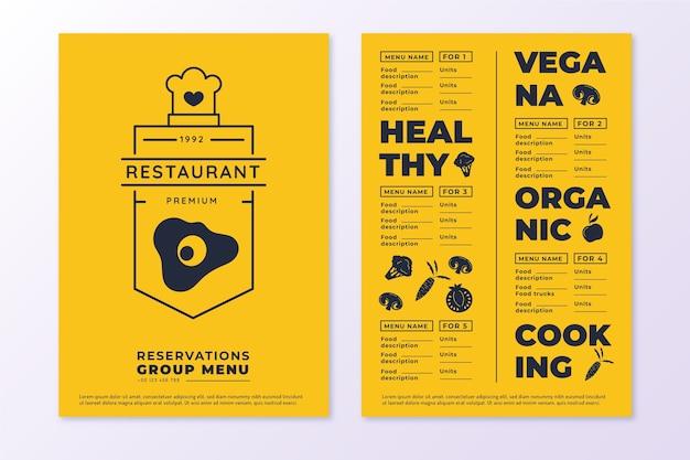 Modèle de menu de restaurant végétalien biologique