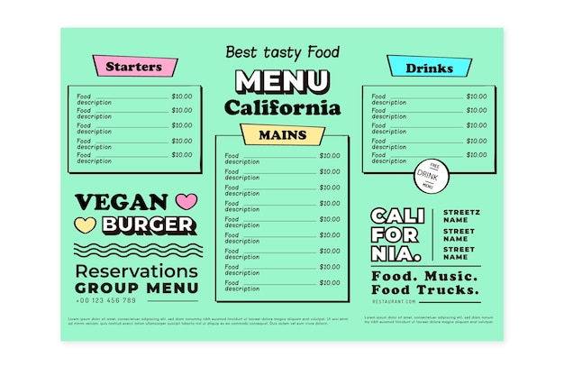 Modèle de menu de restaurant végétalien