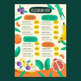 Modèle de menu de restaurant végétarien dessiné à la main