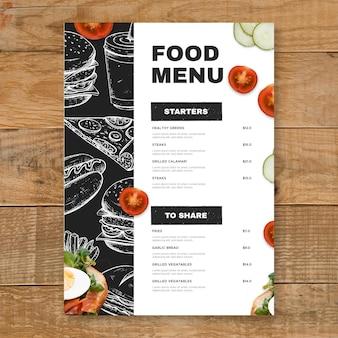 Modèle de menu de restaurant vertical rustique dessiné à la main de gravure
