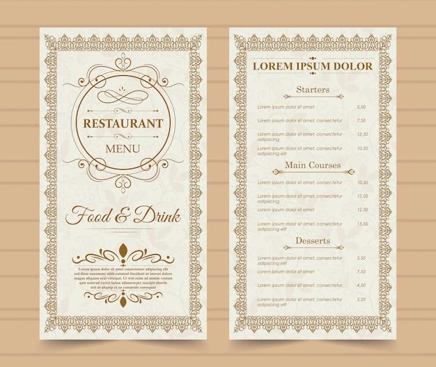 Modèle de menu de restaurant.