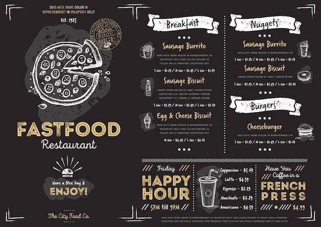 Modèle de menu de restauration rapide café restaurant
