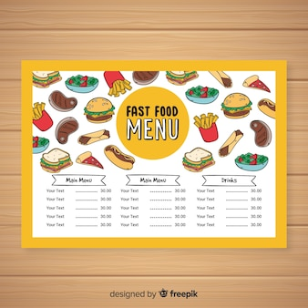 Modèle de menu de restauration rapide dessiné à la main