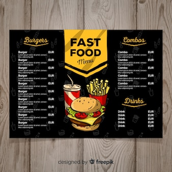 Modèle de menu de restauration rapide dessiné à la main