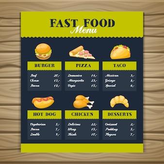 Modèle de menu de restauration rapide