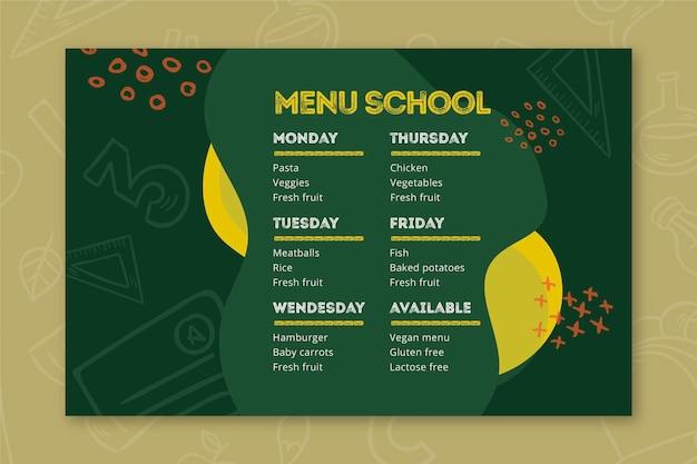 Modèle de menu de retour à l'école