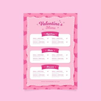 Modèle de menu rose plat saint-valentin