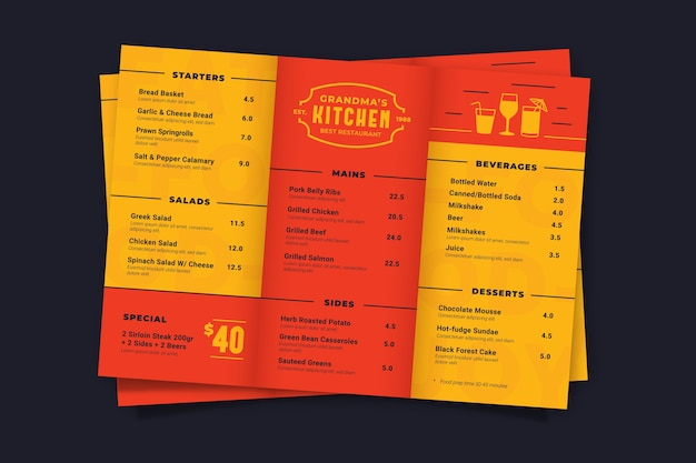 Modèle de menu rouge et jaune