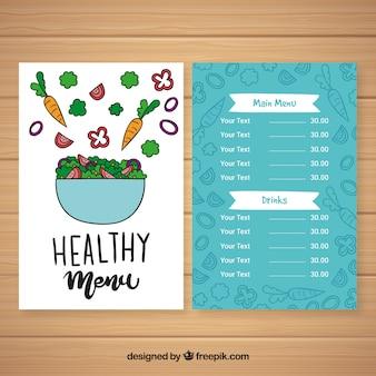Modèle de menu sain de bol de salade dessiné à la main