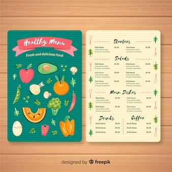 Modèle de menu sain coloré