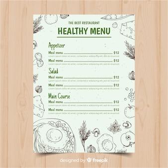 Modèle de menu sain incolore dessiné à la main