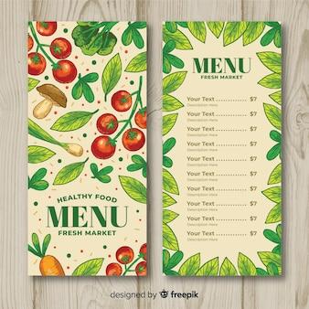 Modèle de menu sain de légumes dessinés à la main