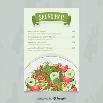 Modèle de menu sain salade dessiné à la main