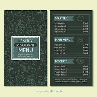 Modèle de menu sain sombre dessiné à la main