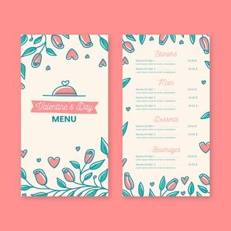 Modèle de menu de saint valentin au design plat