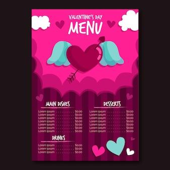 Modèle de menu saint valentin au design plat