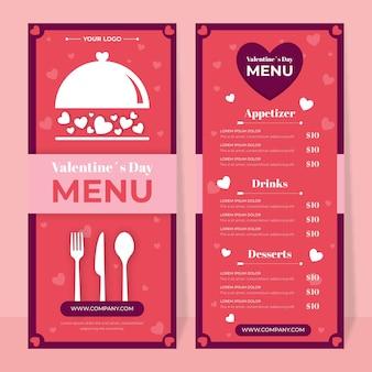 Modèle de menu de la saint-valentin au design plat