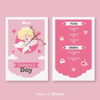Modèle de menu saint valentin blonde cupidon