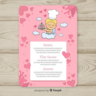 Modèle de menu saint valentin chef cupidon