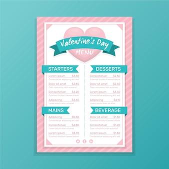 Modèle de menu de saint valentin avec coeur