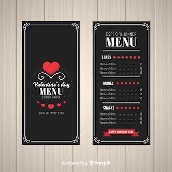 Modèle de menu saint-valentin coeurs plats
