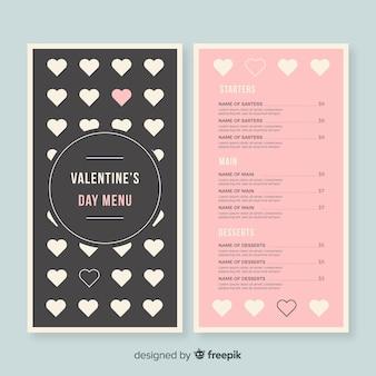 Modèle de menu saint valentin coeurs plats