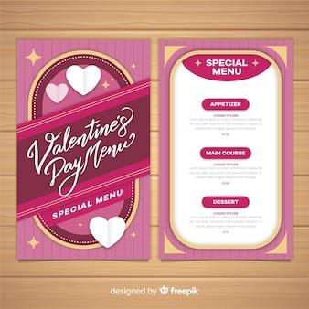 Modèle de menu saint-valentin coeurs pliés