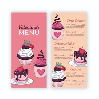 Modèle de menu de la saint-valentin avec des cupcakes