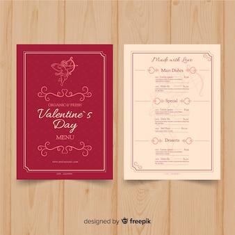 Modèle de menu saint valentin cupidon dessiné