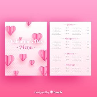 Modèle de menu de saint valentin dans un style réaliste