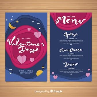 Modèle de menu de saint valentin découpé