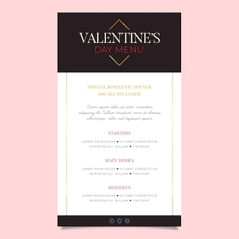 Modèle de menu de la saint-valentin design plat minimaliste