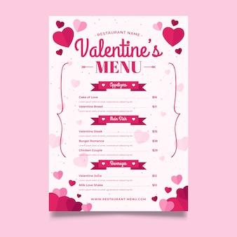 Modèle de menu saint valentin design plat